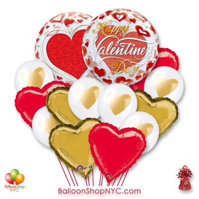 Happy Valentines Day Red Hearts Bubble Balloon Bouquet with Weight