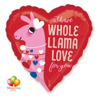 Lama Love Heart Valentines Day Balloon 18 Inch Inflated Delivery in New York from Balloon Shop NYC