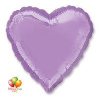 Lavander Heart Mylar Balloon 18 Inch Inflated Delivery in New York from Balloon Shop NYC