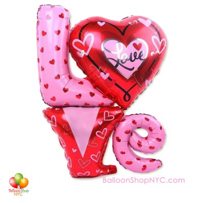 Love Letters Hearts Valentines Balloon Super-shape 36 Inch Inflated Delivery in New York from Balloon Shop NYC