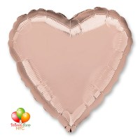 Rose Gold Heart Mylar Balloon 18 Inch Inflated Delivery in New York from Balloon Shop NYC