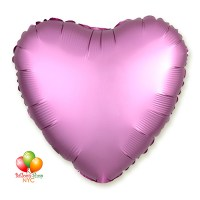 Satin Luxe Flamingo Pink Heart Balloon 18 Inch Inflated Delivery in New York from Balloon Shop NYC