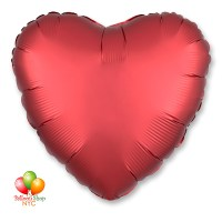 Satin Luxe Sangria Red Heart Balloon 18 Inch Inflated Delivery in New York from Balloon Shop NYC