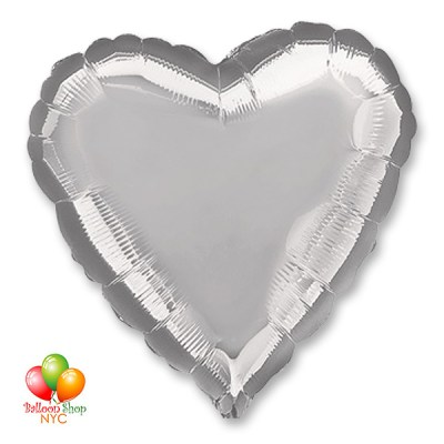 Silver Heart Mylar Balloon 18 Inch Inflated delivery in New York from Balloon Shop NYC