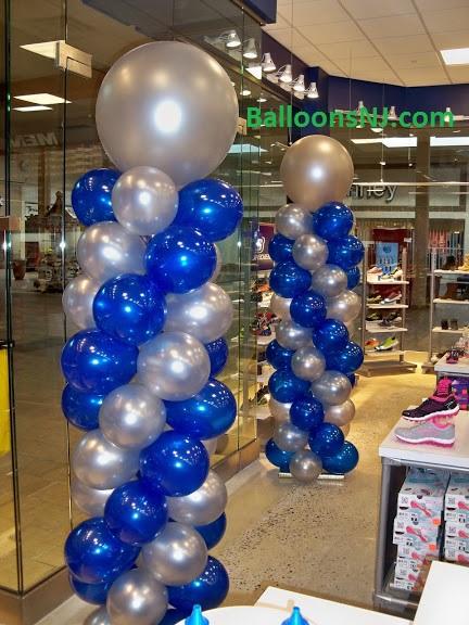 Sapphire Blue And Silver Tall Balloon Columns Promsnj Com