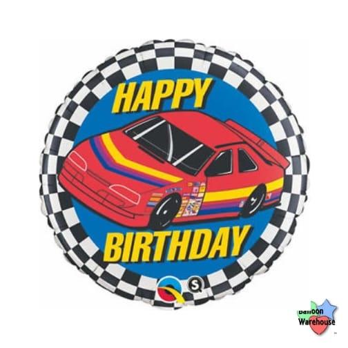 18 Race Stock Car Happy Birthday Foil Mylar Balloon Balloon Warehouse