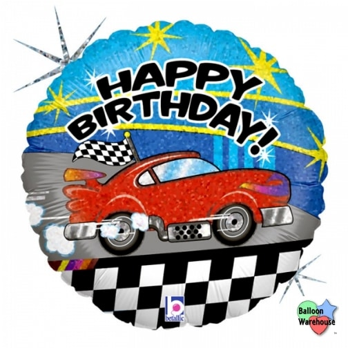 18 Holographic Race Car Happy Birthday Foil Mylar Balloon Balloon Warehouse