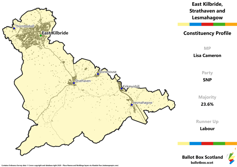 East Kilbride, Strathaven and Lesmahagow Constituency Map