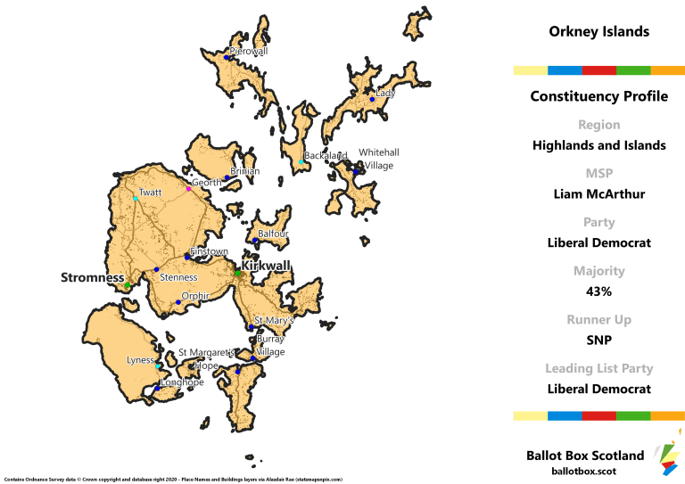 Highlands and Islands Region - Orkney Islands Constituency Map