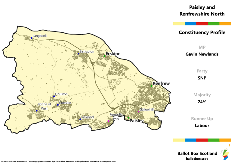 Paisley and Renfrewshire North Constituency Map