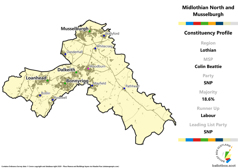 Lothian Region - Midlothian North and Musselburgh Constituency Map