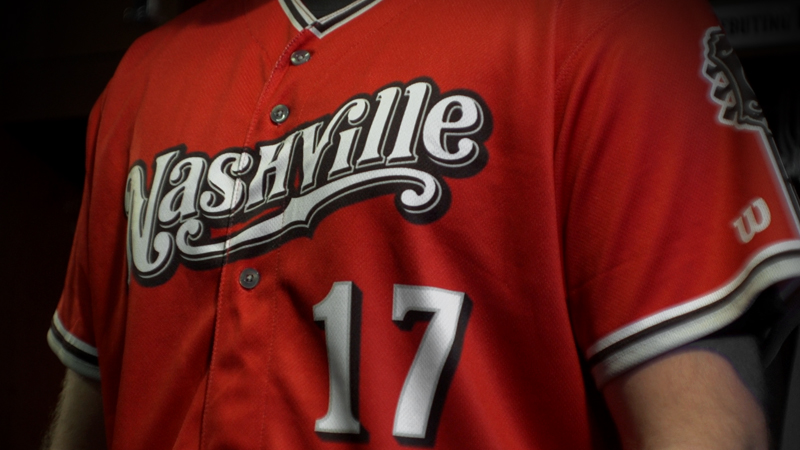 Nashville Sounds red jersey