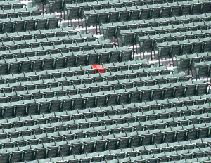 The Ted Williams red seat at Fenway Park in Boston. (photo credit: www.flikr.com/dbking)