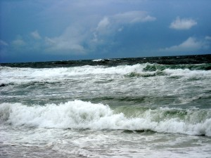 The Gulf of Mexico churns ahead of the arrival of a hurricane. Photo R. Anderson