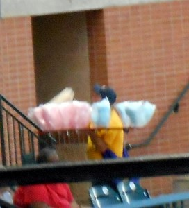 A vendor sells cotton candy and kettle corn at Minute Maid Park. Photo R. Anderson