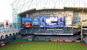 Sections of empty seats are likly to be a sign at Minute Maid Park for many years to come as the Astros work on a total tear-down and rebuild philosophy. Photo R. Anderson