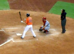 Astros Catcher Cody Clark recorded his first Major League hit Friday night against the Los Angeles Angels. Photo R. Anderson