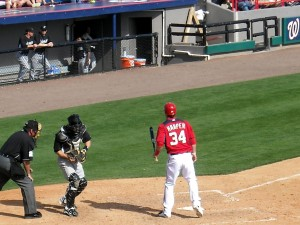 Bryce Harper and the Washington Nationals Spring Training days in Space Coast Stadium may be numbered. Photo R. Anderson