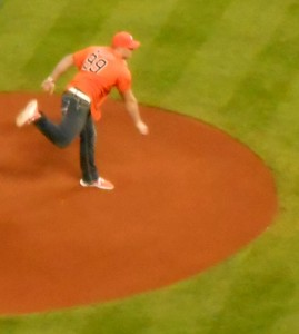 Ceremonial pitches such as J.J. Watt's during the season opener of the Houston Astros last year have been a part of the baseball landscape for decades but sometimes they can take on a deeper meaning. Photo R. Anderson
