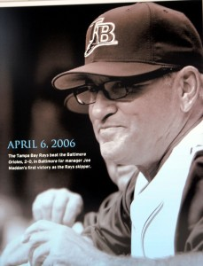 Former Tampa Bay Rays manager Joe Maddon's first victory as a Major League Baseaball manager is memorialized at Charlotte Sports Park. Photo R. Anderson