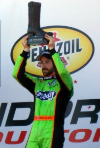 James Hinchcliffe (shown in Winner's Circle after the 2013 Grand Prix of Houston) recently reminded people that driving Indy Cars is risky business. Photo R. Anderson