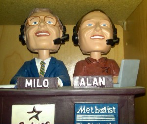 Although he is gone, Milo Hamilton, shown in bobblehead form will live on in the memories of generations of fans and in the archives of the Baseball Hall of Fame. Photo R. Anderson