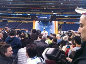 Super Bowl Media Day, January 31st, 2012 with Eli Manning at the podium