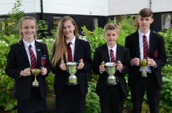 Ballyclare High's Schools Athletic's Champions at Year 8 and 9 Issy McGrugan Jen Lamont Caleb Crawford and Max Sterret