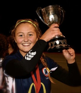 Captain Sophie McDowell with the Winners Cup