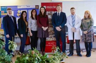 Ballyclare High staff celebrating receiving the Digital School Award