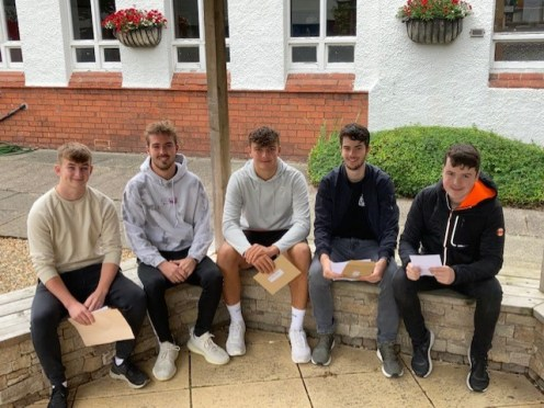 Ballyclare High AS pupils Gareth Purdy, Ben Woodside, Bryn McCallan, Ross Moore and Thomas Cox chatting about their subject choices for A level next year.