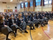 Ballyclare High pupils listening at the White Ribbon talk.