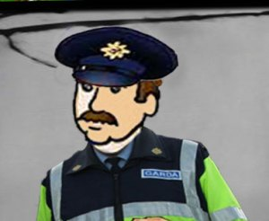 cartoon of Garda illustrating free funny short stories for kids from Ireland's magical town of Ballyyahoo