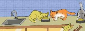 cartoon of cats eating - illustrating a children's story about kitten rescue