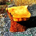 hand made wooden log seat illustrating a story from the magic town of Ballyyhaoo