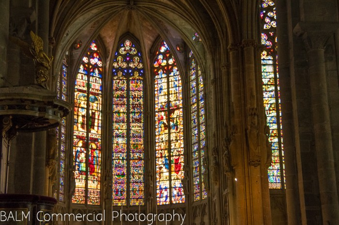 The main stained glass in the Carcasonne Basilica. The other eight windows are just as impressive.