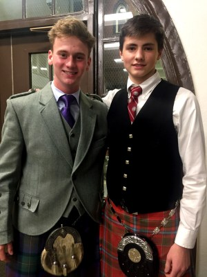 Sharing our Celtic musical heritage: Piping competitors in the Balmoral Classic, Callum Younger and Calum MacNeil