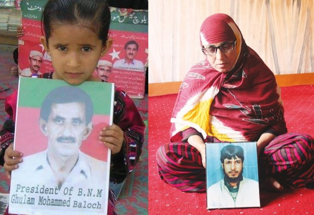 A Baloch child holds the missing photo of her father while (right) a Kashmiri mother holds the photo of her missing son.