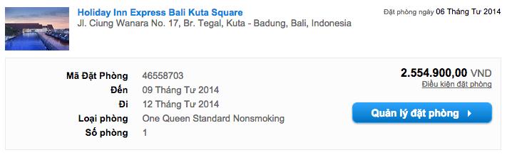 Mình đặt phòng 3 đêm ở Holiday Inn Express Kuta Square với mức giá rất hấp dẫn