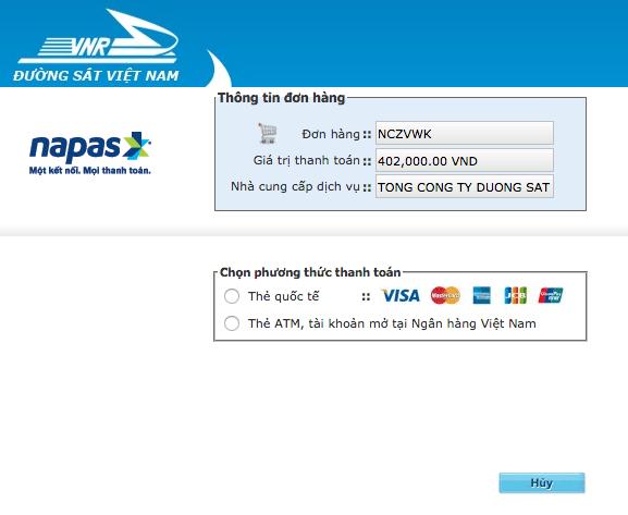 Cung cấp thông tin thẻ để thanh toán vé tàu