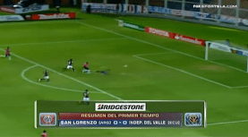 Armando Solís fallando luego de evadir 3 jugadores de San Lorenzo