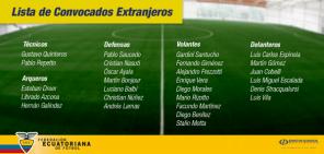 Convocados por Gustavo Quinteros y Pablo Repetto.