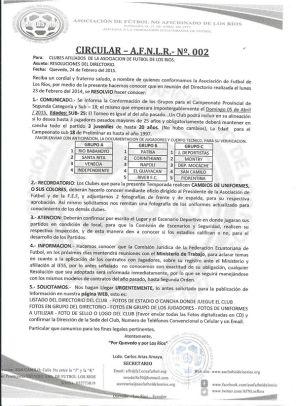 Calendario torneo Los Ríos 1