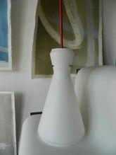 Lampadario anni'50-60 in vetro opalino bianco, Balon Lamps, Torino