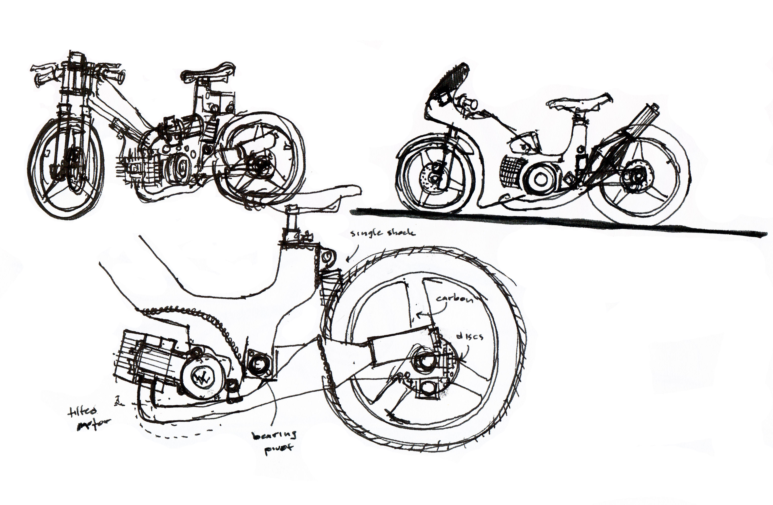 Vintage Moped Sketches