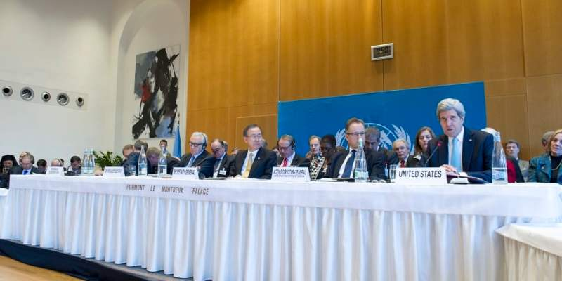 United States Secretary of State John Kerry (right) speaks during the opening of the high-level segment of the Geneva II Conference on Syria, taking place in Montreux, Switzerland. Also convening the international conference that has brought together both the Syrian Government and the opposition in an attempt to end the nearly-three-year civil war in Syria are (from left) Sergey V. Lavrov, Minister for Foreign Affairs of the Russian Federation; Lakhdar Brahimi, Joint Special Representative of the United Nations and the League of Arab States for Syria; Secretary-General Ban Ki-moon; and Michael Møller, Acting Director-General of the United Nations Office at Geneva (UNOG) | ©UN Photo/Eskinder Debebe.