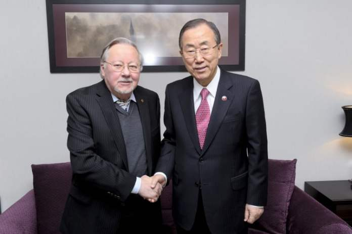 Ban Ki-moon with Vytautas Landsbergis
