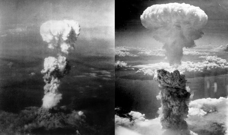 Atomic bomb mushroom clouds over Hiroshima, August 6, 1945 (left) and Nagasaki August 9, 1945 (right)
