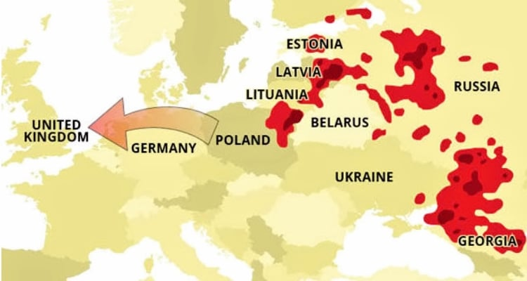 Map showing the spread of ASF across Europe