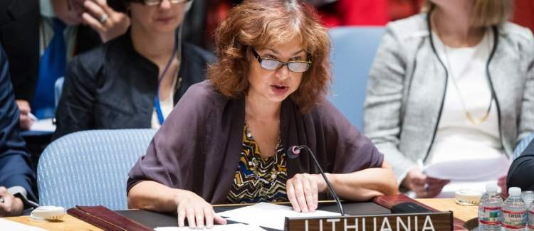 Shown here is Lithuanian Ambassador Raimonda Murmokaitė, Permanent Representative of Lithuania to the United Nations in New York. Lithuania Is a non-permanent member of the UN Security Council. UN Photo/Loey Felipe.